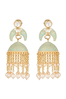 Gold Polish Enamelled Jhumka Earrings by Anjali Jain
