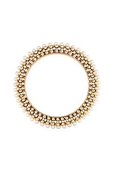 Gold Polish Beads & Pearls Bangles by Anjali Jain