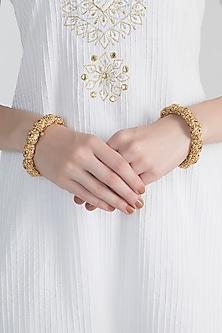 Gold Polish Ruby Onyx Scalloped Bangles by Anjali Jain