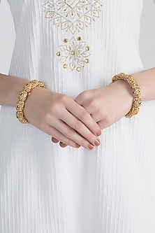 Gold Polish Ruby Onyx Scalloped Bangles by Anjali Jain