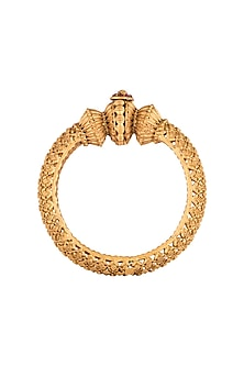 Gold Polish Carved Discs Bangles by Anjali Jain
