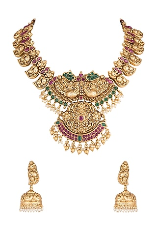Gold Polish Carved Pendant Necklace Set by Anjali Jain Jewellery