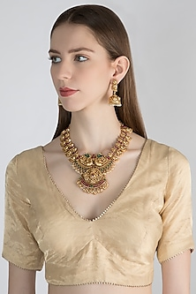 Gold Polish Carved Pendant Necklace Set by Anjali Jain