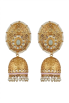 Gold Finish Temple Jhumka Earrings by Anjali Jain