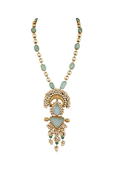 Gold Finish Pearls Necklace by Anjali Jain