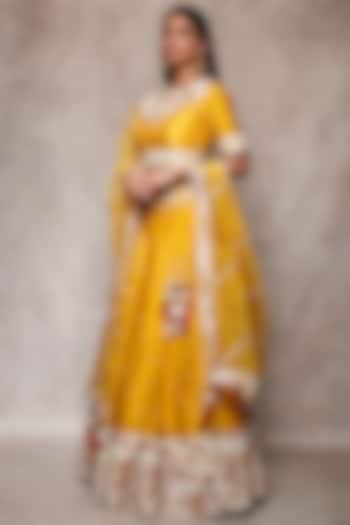 Mustard Embroidered Lehenga Set by Ajiesh Oberoi