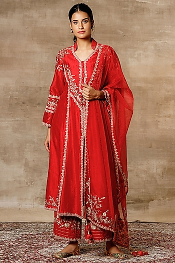 Red Embroidered A-Line Kurta Set by Ajiesh Oberoi