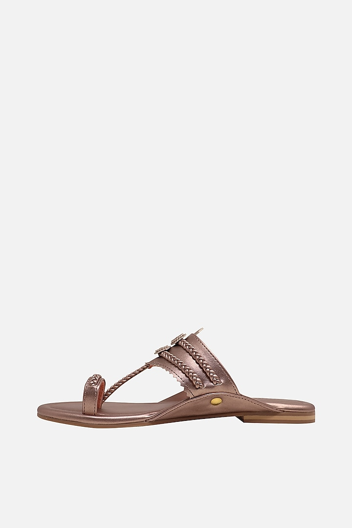 Rose Gold Floral Braided Flats by Aprajita Toor