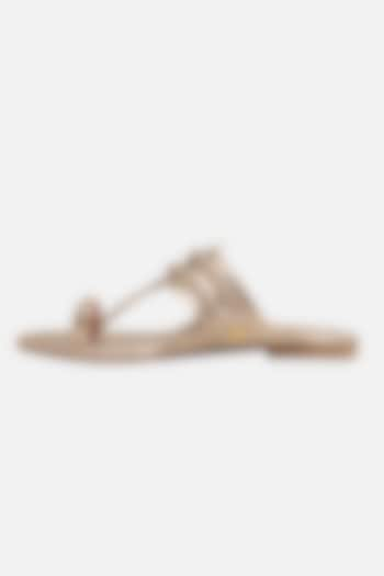 Champagne Floral Braided Flats by Aprajita Toor