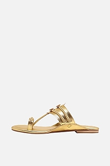Gold Floral Braided Flats by Aprajita Toor