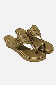 Dull Gold Handcrafted Wedges by Aprajita Toor