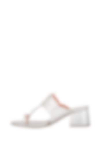 Silver Handcrafted Box Heels by Aprajita Toor