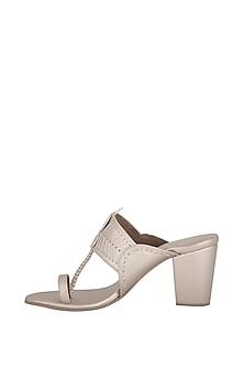Champagne Metallic Block Heels by Aprajita Toor
