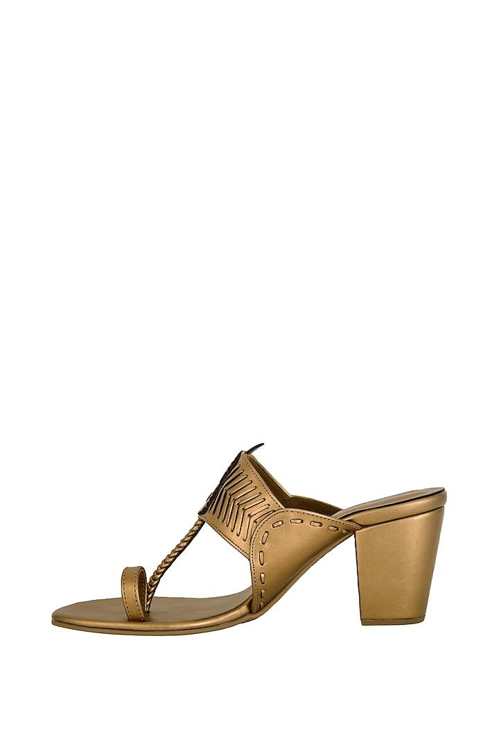 Copper Metallic Block Heels by Aprajita Toor