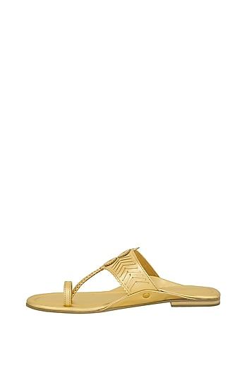 Gold Metallic Handcrafted Flats by Aprajita Toor