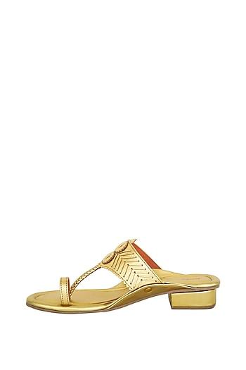 Gold Handcrafted Slab Heels by Aprajita Toor