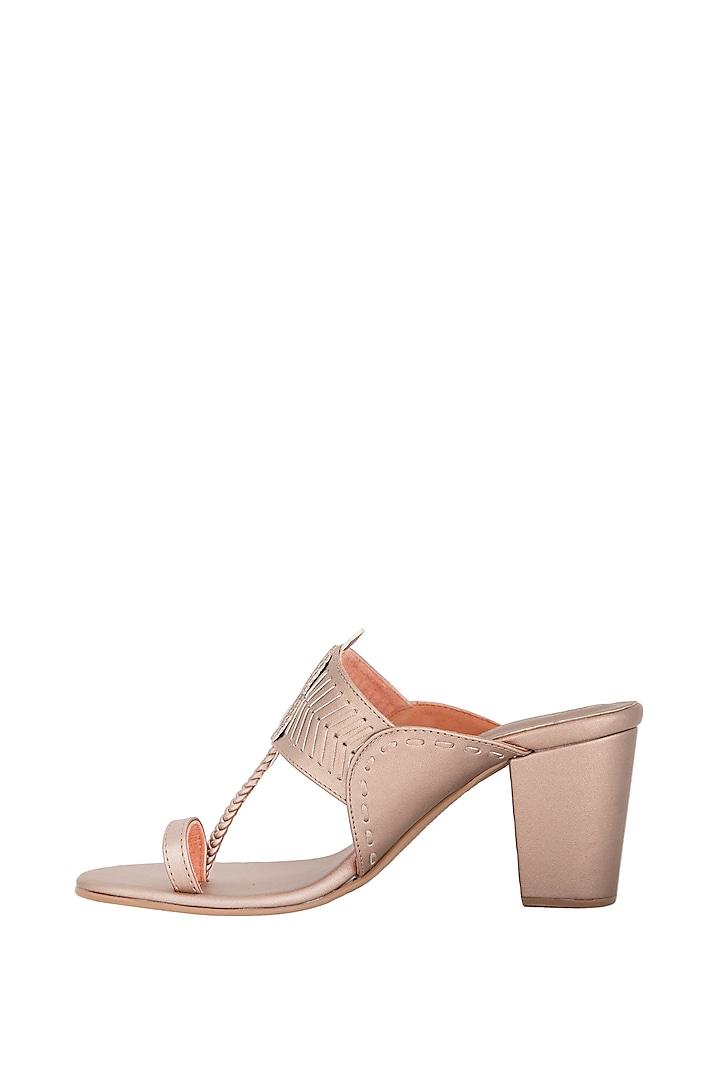 Rose Gold Handcrafted Block Heels by Aprajita Toor