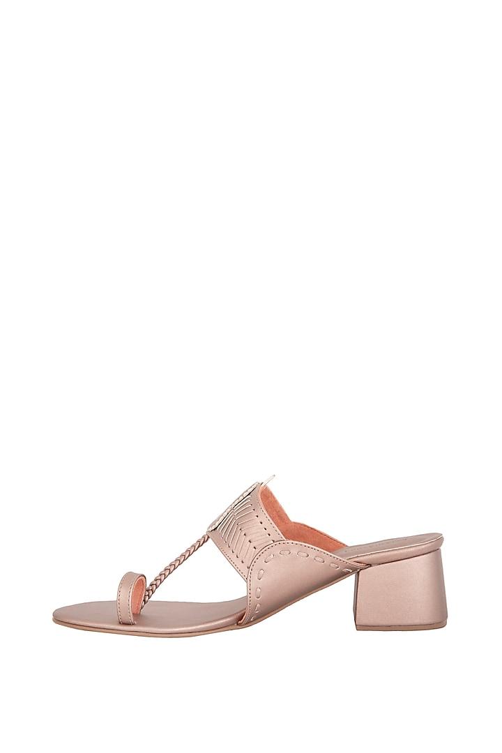 Rose Gold Metallic Slab Heels by Aprajita Toor