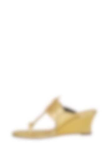 Gold Metallic Handcrafted Wedges by Aprajita Toor
