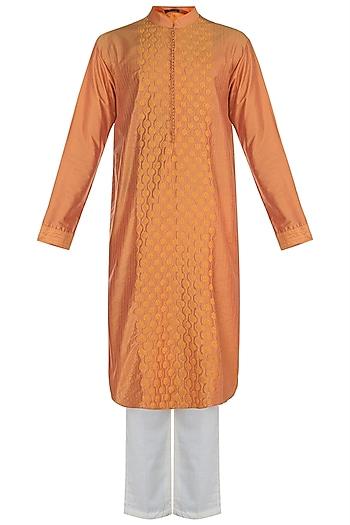 Orange Honeycomb Embroidered Kurta Set by Anju Agarwal