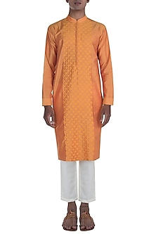 Orange Honeycomb Embroidered Kurta Set by Anju Agarwal