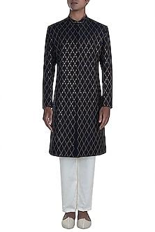 Black Embroidered Sherwani With Pants by Anju Agarwal