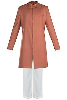 Orange Grid Sherwani Set by Anju Agarwal