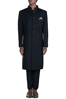 Black Embroidered Sherwani Set by Anju Agarwal