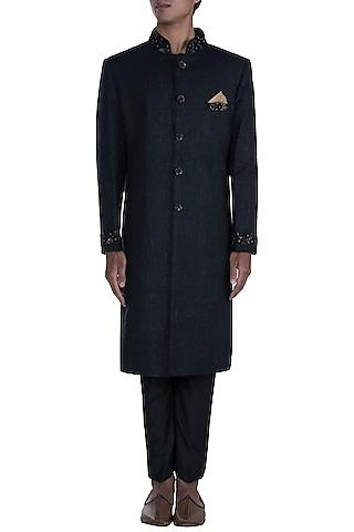 Black Embroidered Sherwani Set by Anju Agarwal