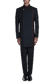 Black Asymmetric Sherwani Set by Anju Agarwal