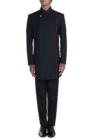 Black Asymmetric Sherwani Set by Anju Agarwal