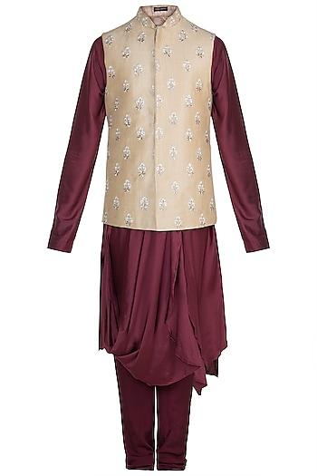 Maroon Kurta Set With Beige Embroidered Jacket by Anju Agarwal