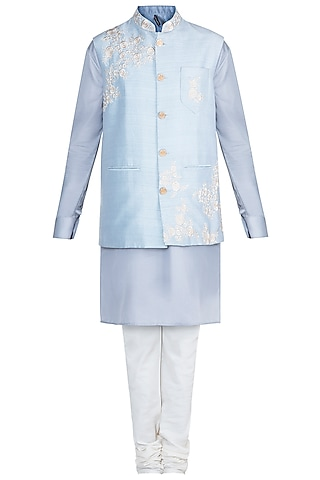Grey Kurta Set With Baby Blue Embroidered Jacket by Anju Agarwal