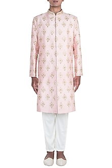 Pink Embroidered Sherwani Set by Anju Agarwal