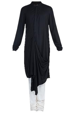 Black Draped Kurta With Churidar Pants by Anju Agarwal