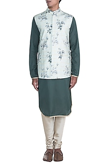 Mint Green Printed Nehru Jacket With Dark Green Kurta Set by Anju Agarwal
