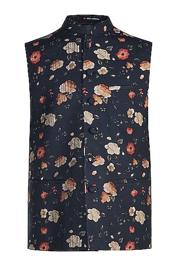 Black Floral Printed Jacket by Anju Agarwal