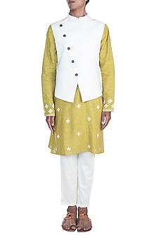 White Embroidered Jacket With Lime Green Kurta Set by Anju Agarwal