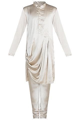 Golden Moonga Silk Kurta Set by Anju Agarwal