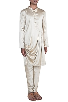 Golden Moonga Silk Kurta Set by Anju Agarwal