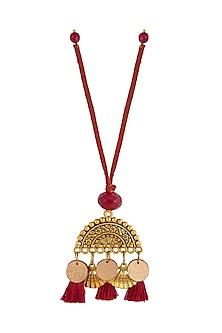 Red Textured Semi-Circular Lumba by Anjali Jain