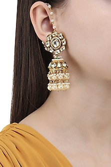 Gold Finish Polki and Pearl Jhumki Earrings by Anjali Jain
