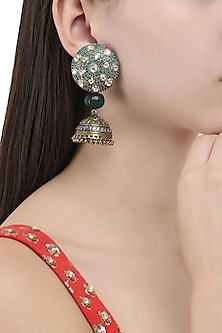 Gold and Silver Dual Finish Jhumki Earrings by Anjali Jain