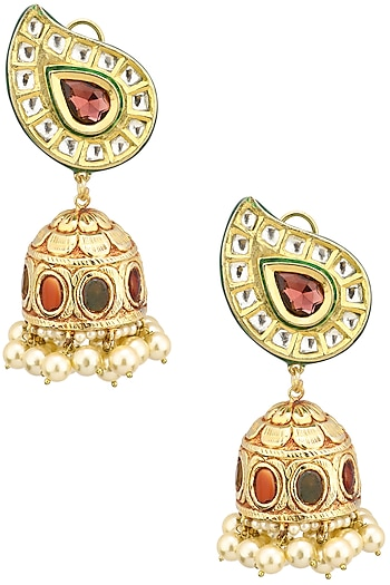 Gold Finish Polki and Ruby Stone Jhumki Earrings by Anjali Jain