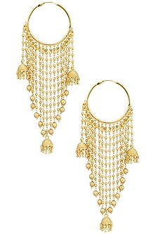 Gold Finish Strings and Jhumki Drops Balis by Anjali Jain