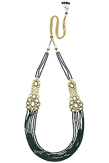 Gold Finish Polki Multilayer String Necklace by Anjali Jain