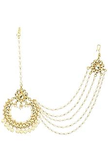 Gold Finish Polki and Pearl Maangtika by Anjali Jain