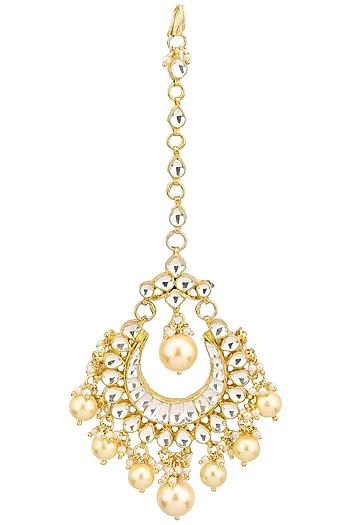 Gold Finish Crescent Shaped Polki Maangtika by Anjali Jain