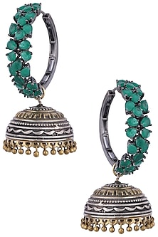 Antique silver and gold dual plated jhumki earrings by Anjali Jain