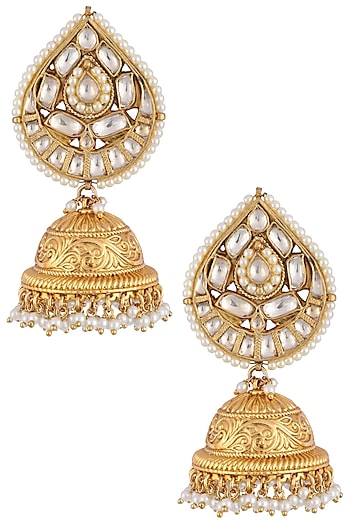 Gold plated pearls textured jhumki earrings by Anjali Jain